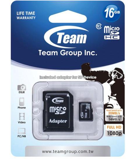 Karta pamięci microSDHC Team Group Class 10 16GB + adapter SD