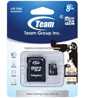 Karta pamięci microSDHC Team Group Class 10 8GB + Adapter SD