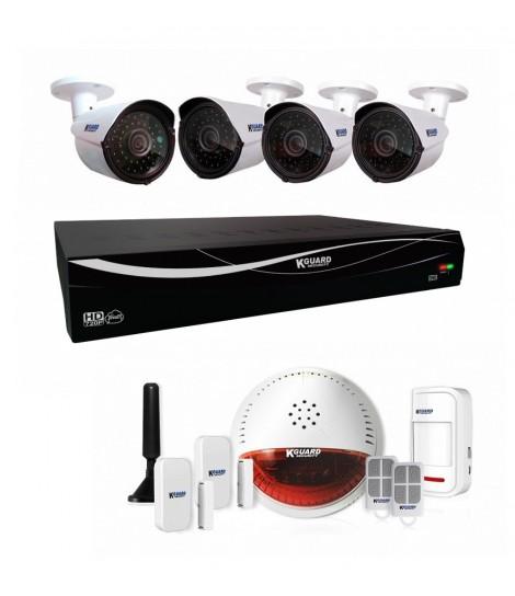 Zestaw do monitoringu KGuard DSH-003 (rejestrator EL431 + 4x kamera WA713A + zestaw alarmowy DSH-002)