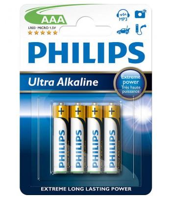 Bateria alkaliczna Philips Ultra Alkaline LR03, typ AAA (4 szt.)