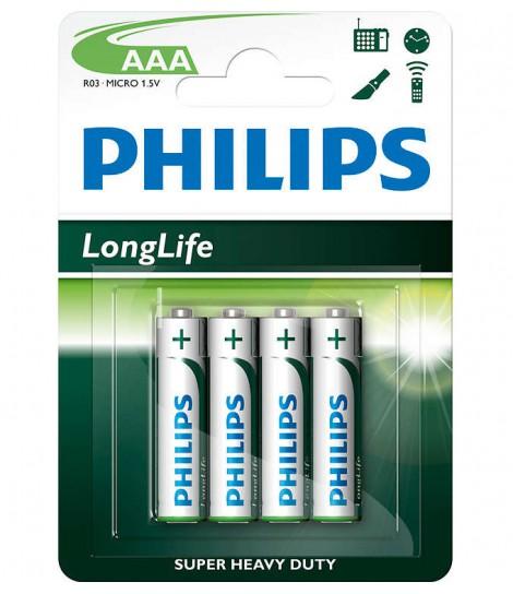Bateria cynkowo-chlorkowa Philips LongLife R03, typ AAA (4 szt.)