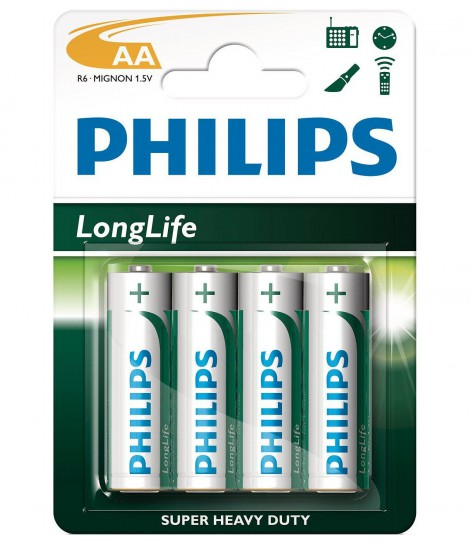 Bateria cynkowo-chlorkowa Philips LongLife R6, typ AA (4 szt.)