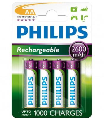 Akumulator niklowo-wodorkowy Philips Rechargeables R6, typ AA (4 szt.)