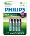 Akumulator niklowo-wodorkowy Philips Rechargeables R03, typ AAA (4 szt.)