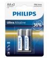 Bateria alkaliczna Philips Ultra Alkaline LR6, typ AA (2 szt.)