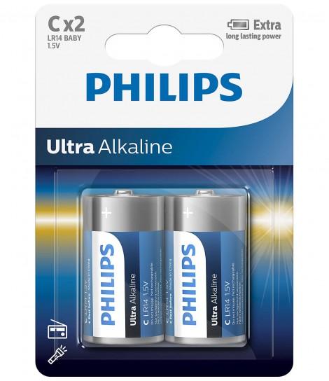 Bateria alkaliczna Philips Ultra Alkaline LR14, typ C (2 szt.)