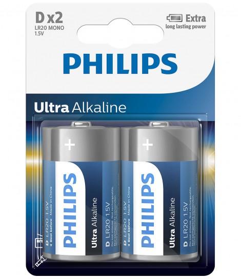 Bateria alkaliczna Philips Ultra Alkaline LR20, typ D (2 szt.)