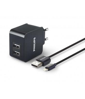Ładowarka sieciowa USB Philips DLP2307V/12 + kabel USB na Apple Lightning