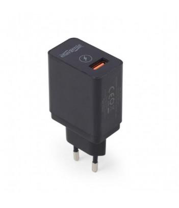 Sieciowa ładowarka QC 3.0 USB, 2.1A czarna Gembird
