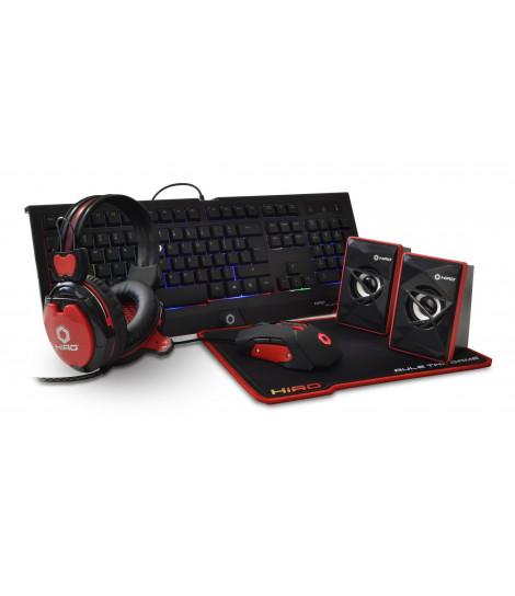 Zestaw gamingowy 5 w 1 HIRO Destro (klawiatura, mysz, słuchawki, podkładka, głośniki)