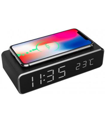 Zegar cyfrowy z funkcją budzika oraz bezprzewodowego ładowania Gembird (czarny)