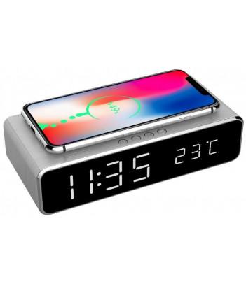 Zegar cyfrowy z funkcją budzika oraz bezprzewodowego ładowania Gembird (szary)