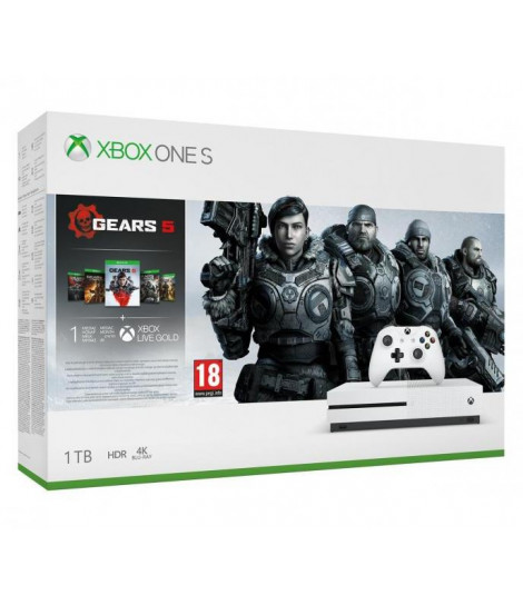 Konsola Xbox One S 1TB z grami Gears 5, Gears of War Ultimate, Gears of War 2,3,4